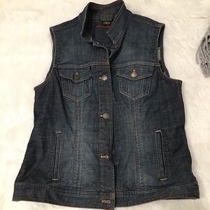 Eddie Bauer Dark Washed Denim Jean Jacket Vest